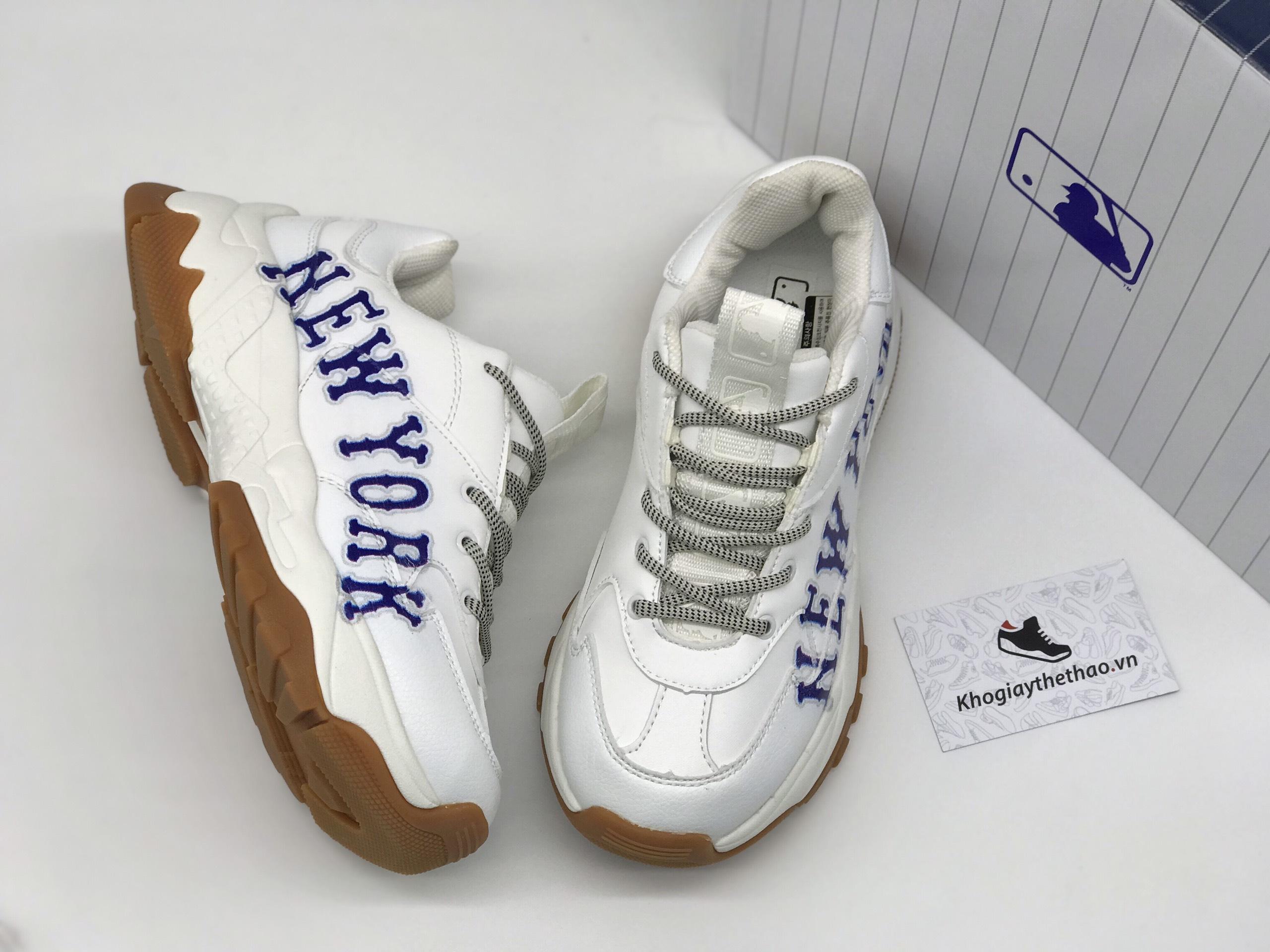 Giày MLB New York trắng chữ xanh rep