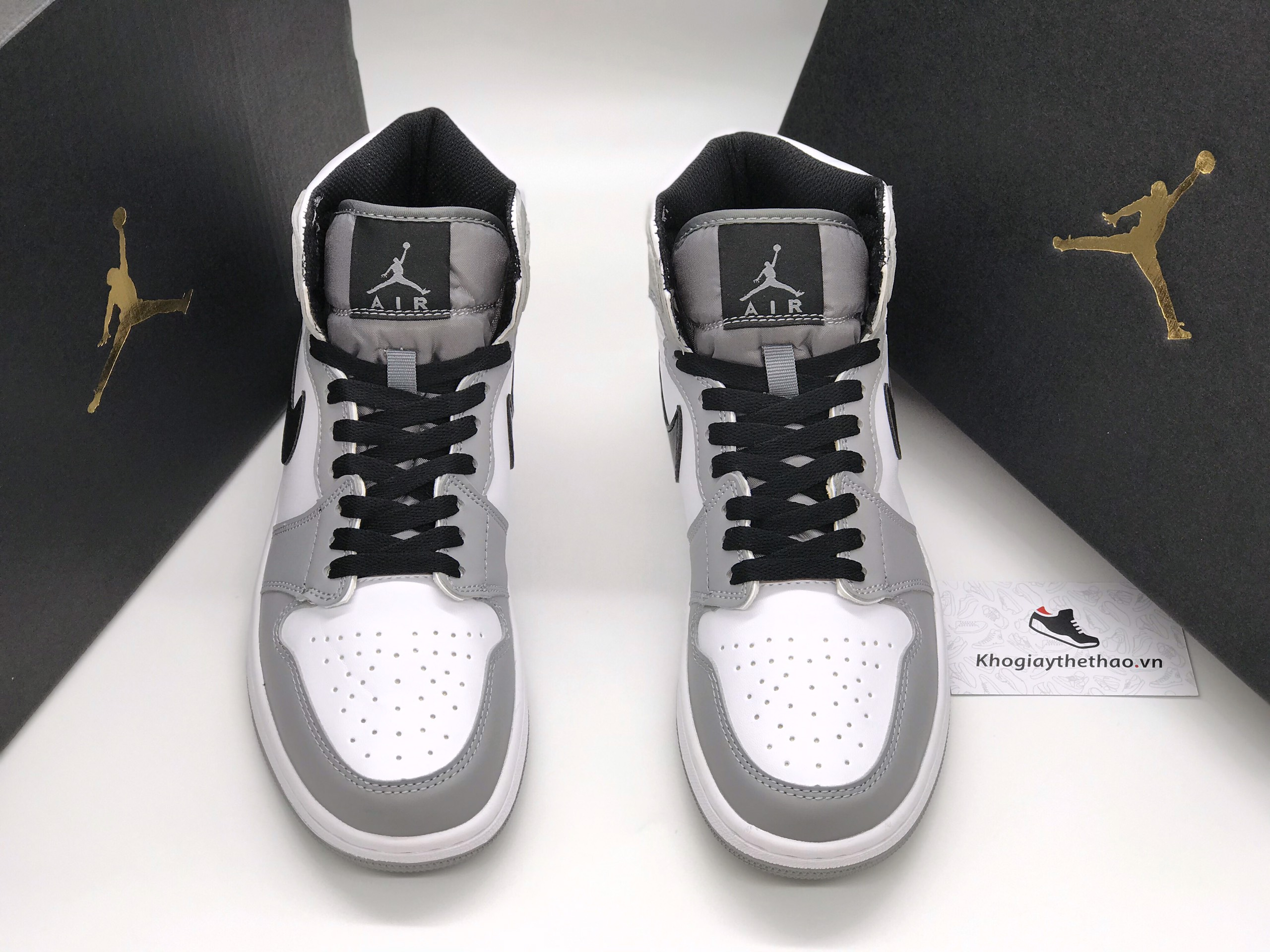 Giày Nike Air Jordan 1 High Light Smoke Grey rep