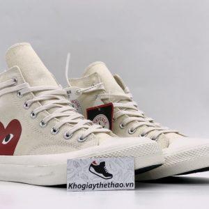 Giày Converse 1970s tim CDG trắng cao cổ rep
