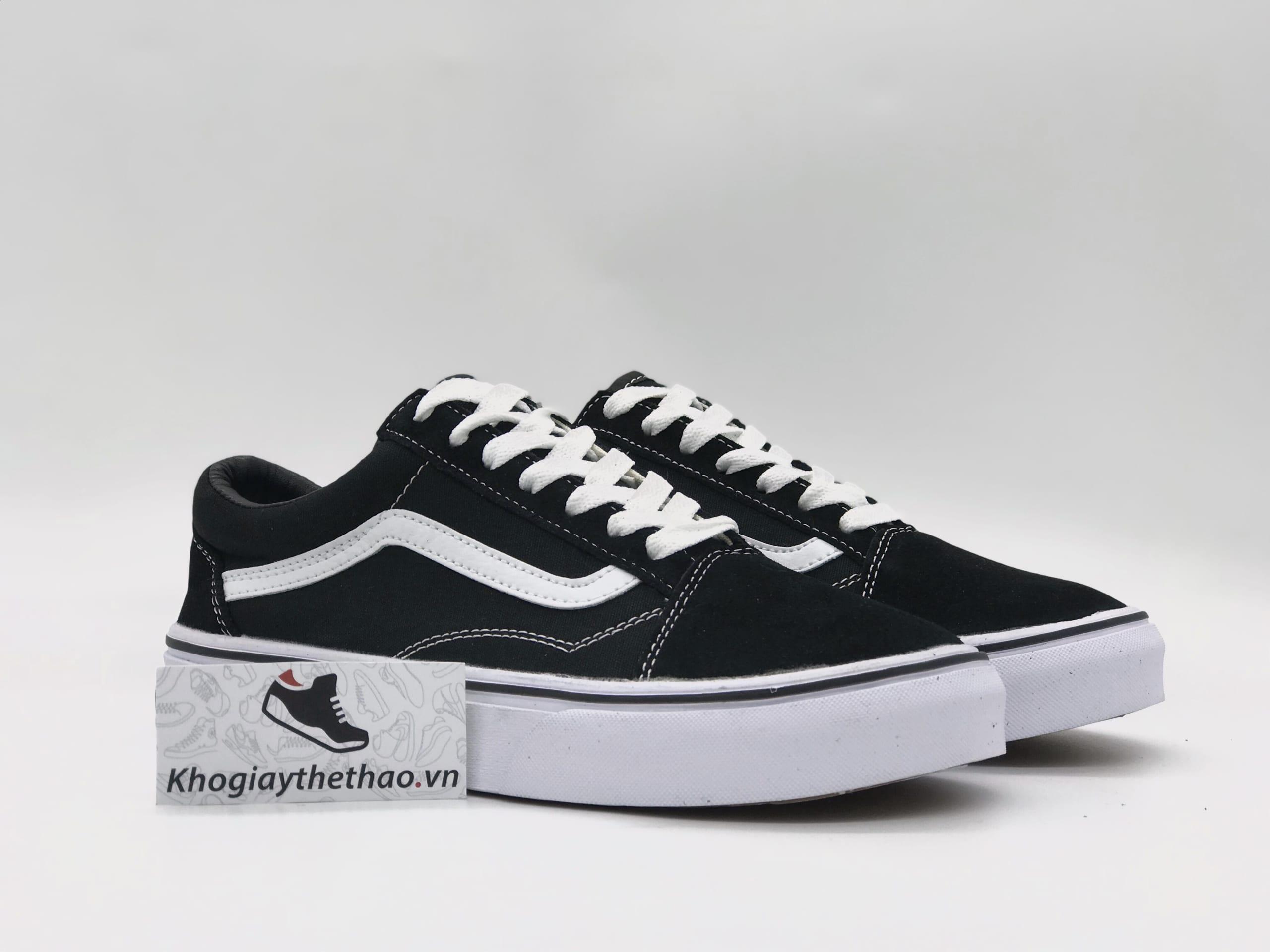 Giày Vans Old Skool đen sọc trắng sf