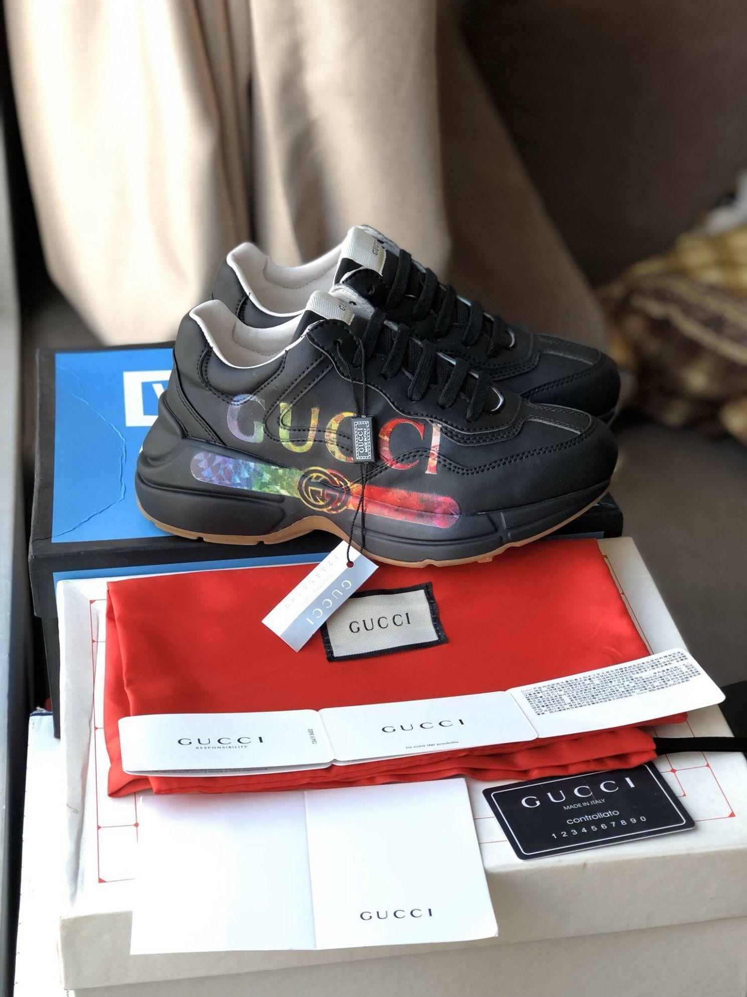 Giày gucci rhyton black đen rep 1:1