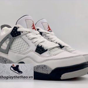 Giày Nike air Jordan 4 Retro White Cement replica