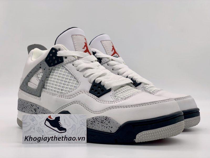 Giày Nike air Jordan 4 Retro White Cement replica