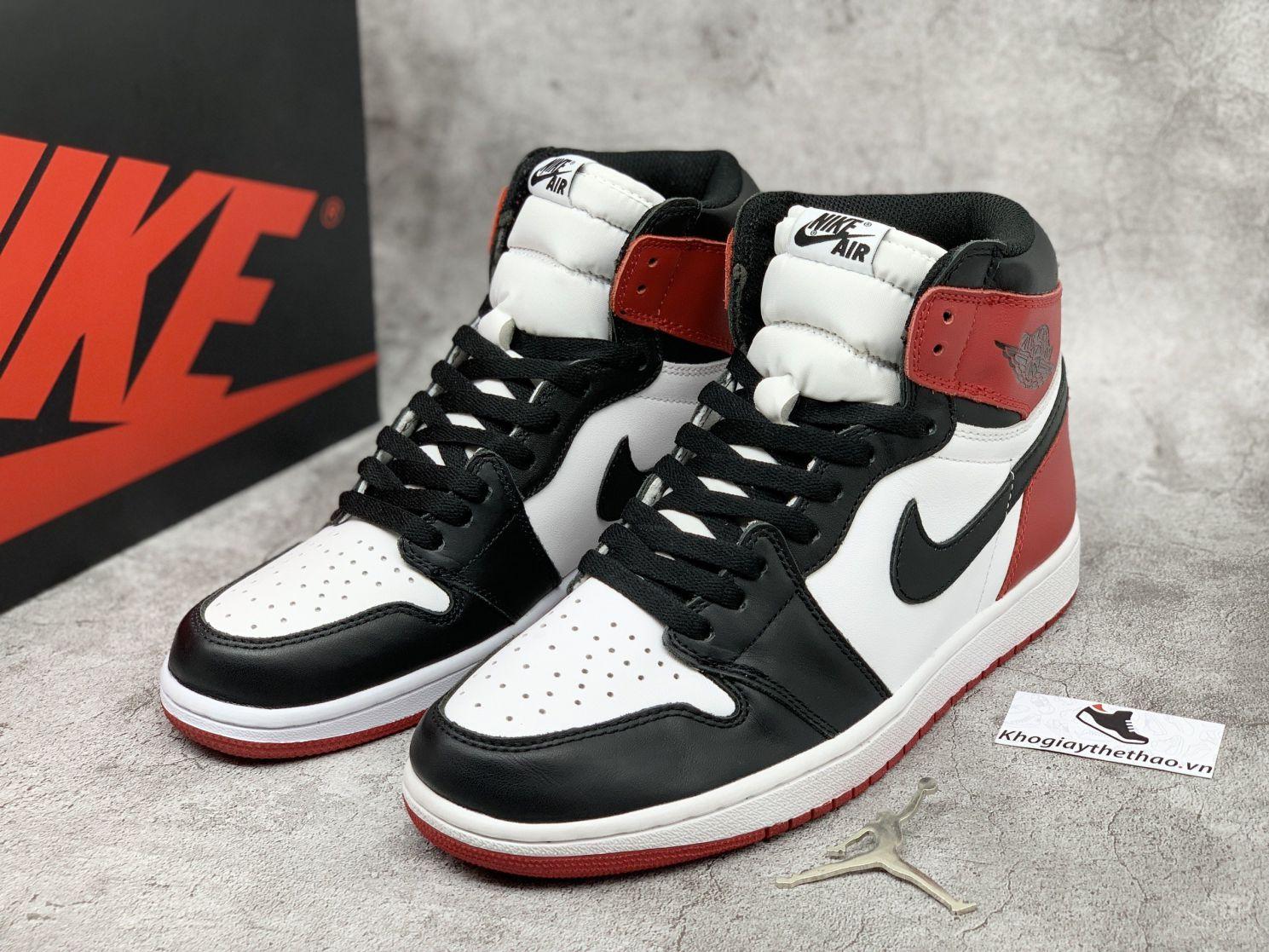 giày Nike Air Jordan 1 Black Toe high cổ cao