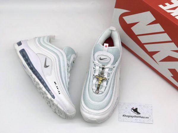 Giày Nike air max 97 Jesus trắng xanh rep