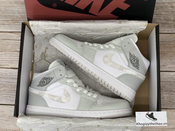 Giày Nike Air Jordan 1 Mid Grey Camo replica