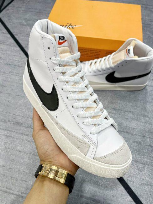 giày Nike Blazer Mid 77 Vintage White Black trắng đen Rep 1:1