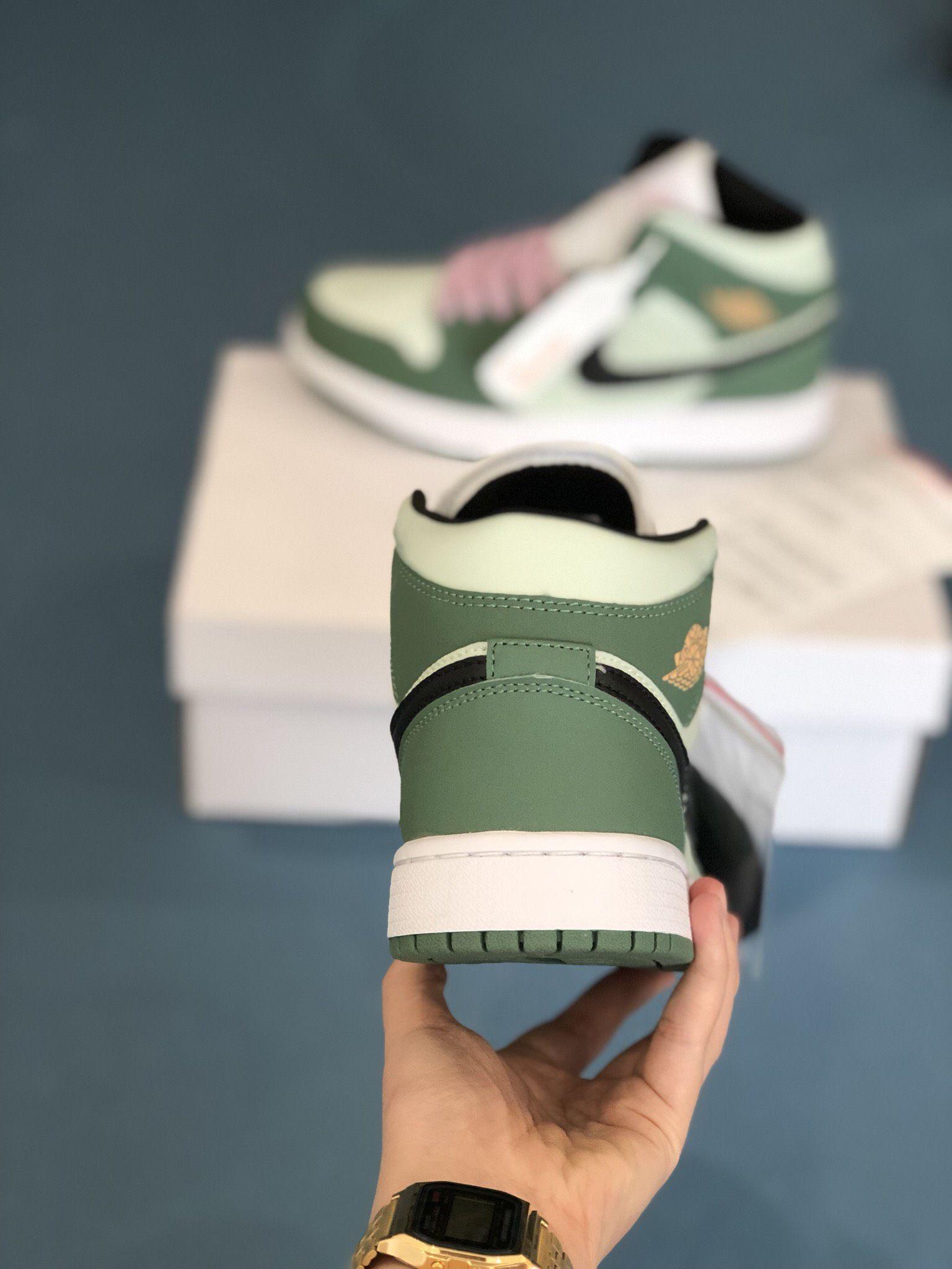 gót giày Nike Air Jordan 1 Mid Dutch Green